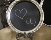 Silver Wedding Chalkboard Tray Round Chalkboard Tray