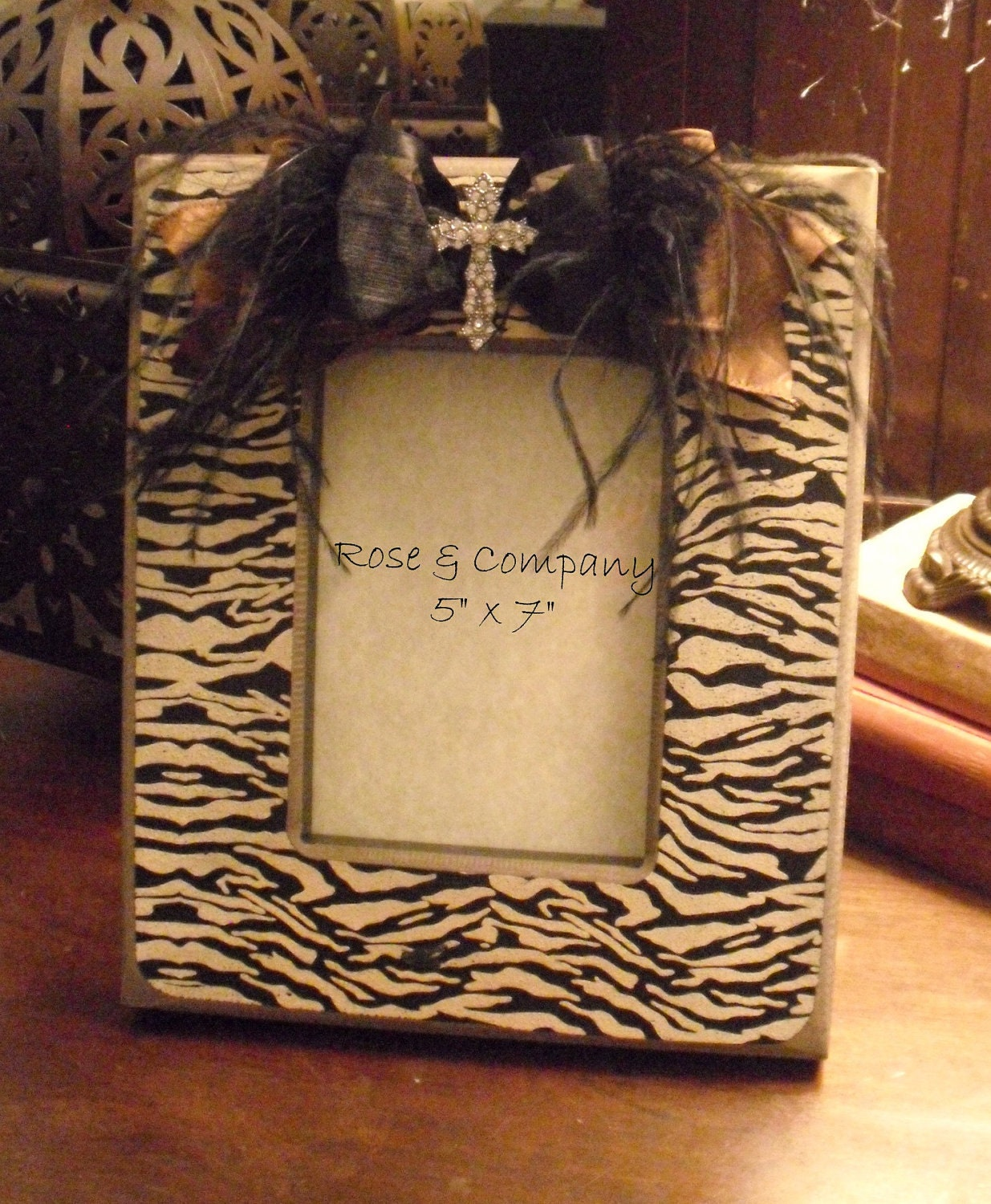 Zebra Picture Frame Embellished Cross Feathers Ribbon