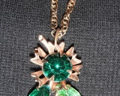 Vintage, Repurposed Green Rhinestone Clip-on Earring Necklace