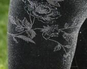Ladies Glitter Foral Velvet Leggings - Small or X-Small