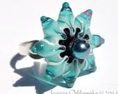 lampwork star glass ring in teal & violet