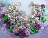 Roses of Violet and Lilac and Green with Lots of Pearls in Shades of Cream Bracelet  Great Gift Romantic Feminine DJ Original