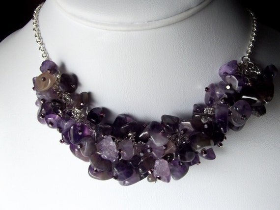 Purple Amethyst Necklace, Gemmy Chunky Necklace, Birthstone Necklace, Gemstone Necklace, Gifts for Her, Gifts for Mom, Silver
