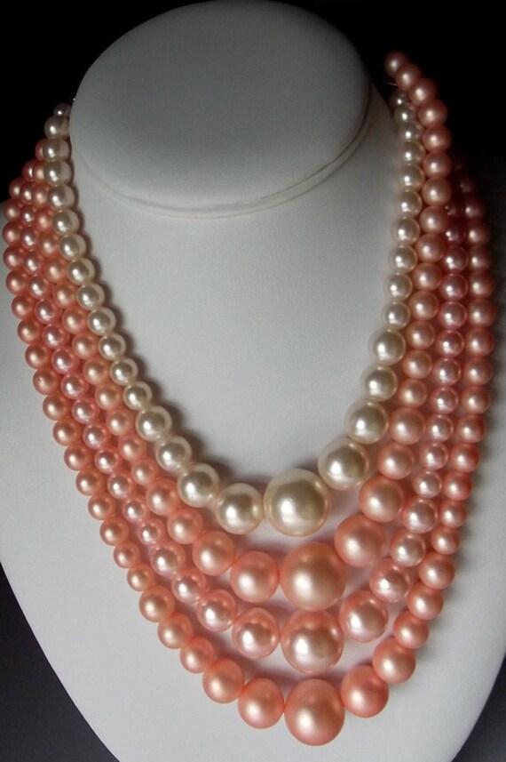 Vintage June Cleaver Necklace, Multi Strand Pearl Necklace, Chunky Necklace, Gifts for Her, Gifts for Mom, Silver