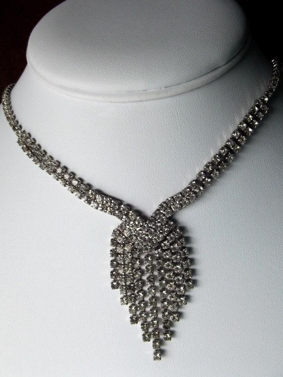 Vintage Rhinestone Choker, Bridal Necklace, Wedding Jewelry, Gifts for Her, Vintage Jewelry, Elegant, Audrey Hepburn Style