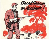 Vintage National Safety Poster - Good Point Hunting Safety Gun Dog