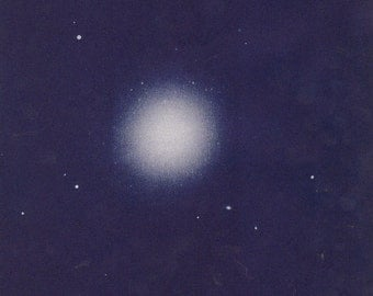 Vintage Book Plate of an elliptical galaxy, Messier 87, in the constellation of Virgo