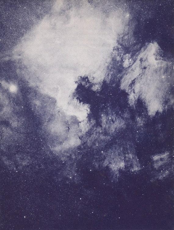 Vintage Book Plate of The North America Nebula, constellation Cygnus