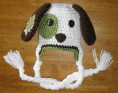Patchy Puppy Dog Beanie with (or without) Earflaps, Custom made, Newborn to adult sizes, you choose accent colors