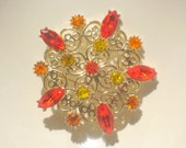 SALE   -- Bright Starburst Garden Brooch - by  Emmons