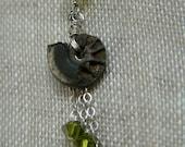 The Melusine series necklace - peridot iridescent ammonite fossil swarovski -