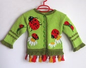 Black Friday Etsy SALE - Ladybugs on Daisies Cardigan for Children 2 to 3 years