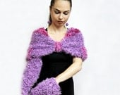 Hand Knitted Shrug, Hand Knit Cape, Handwarmers, Capelet with Gauntlets Coctail Set purple by Solandia