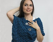 RESERVED for Jennifer - Classy elegant shawl Color of the Millennium, pearled blue poncho shrug cape, size S to M