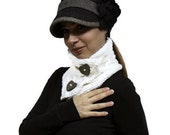 White Neck Warmer - SNOW MAID - Warm Soft Cowl/ Wool Shawl by Solandia. Lovely gift.