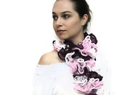 SALE - Summer Scarf/ The Frou-Frou Lace Scarf/ Scarflette/ Hand Knit Ruffled Shawl - pink, white, purple by Solandia