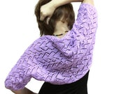 Fusion of Hearts - Shrug in Violet, Shawl, Shroud, Wrap for Ladies, one purple Valentine by Solandia, spring, summer