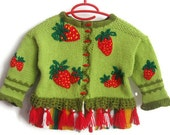 Children cardigan, Wool Kid Cardigan - STRAWBERRY FIELDS/ Children Vest/ Wool Sweater/ Children sweater for 3 to 4 years by Solandia