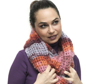 Hand Knit Mohair CIRCLED Infinity Scarf convertible Boho Shrug Solandia orange pink marsala, Christmas Gift, Winter Gift, Festival Fashion
