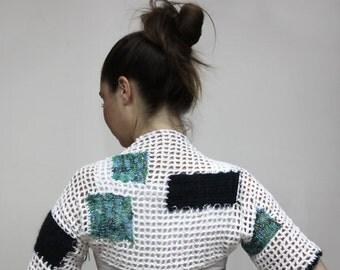Crochet BOHO SHRUG, Short White Summer Shrug with patches by Solandia, Summer Knits, Women Fashion, bohemian fashion, hippie fashion