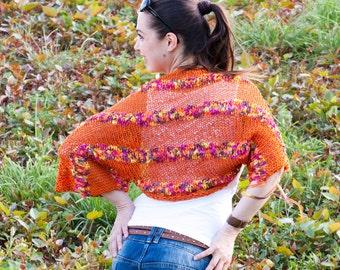 Hand Knitted Summer Orange Cotton Shrug/ Elegant Hand Knit Shrug/ Knitting Women Fashion/ Bolero/ Boho/ All Sizes by Solandia