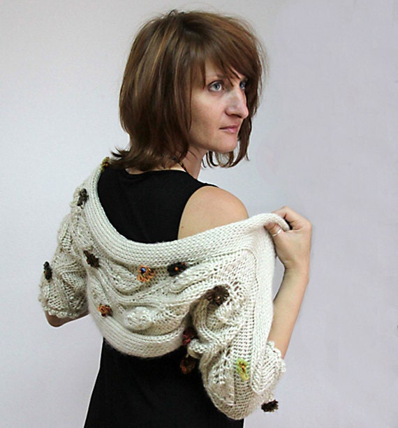 Reserved for Michele - FLORAL CARESS - Pure Wool Shrug in Natural Colors, Shawl, Shroud, Wrap for Ladies