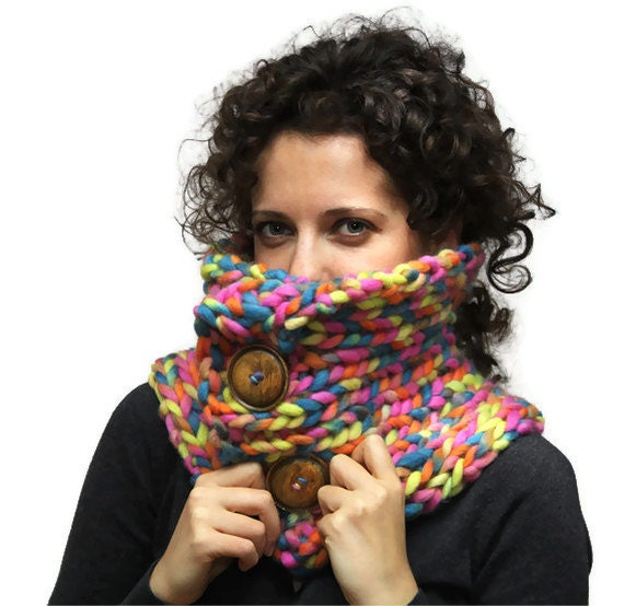 BLACK FRIDAY SALE - Chunky Winter Scarf, Bulky Multicolor Pure Wool Knit Scarf, Rainbow, women accessories, cowl by Solandia Christmas gift
