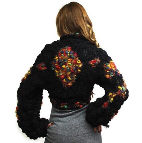 Black Wool Shrug TENGRI Pure Wool Black Bolero, Black Sweater, XL Size, OOAK, large size, spring, autumn by Solandia