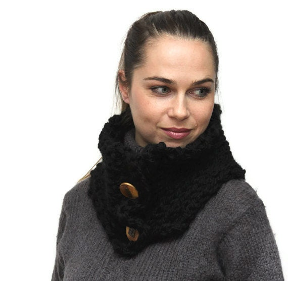 Knit Unisex Scarf, Bulky Black Wool Neck Warmer PURE BLACK Chunky Cowl, Winter Shawl, BMW Steampunk Buttons by Solandia. Gift. Men. Women.