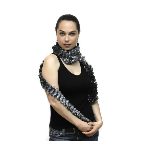 Black Friday Sale: Coupon code FRIDAYTOCYBER20 Metallic Skinny Scarf/ Coctail Evening Formal Dress Scarf/ Ruffled Grey Silver Christmas gift