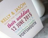 Wedding invitation, multi colour, multi font (sample)