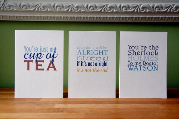 cards - life, love & friendship, set of 6: just my cup of tea, Sherlock Holmes, time is now, will be alright, rainbow, happy