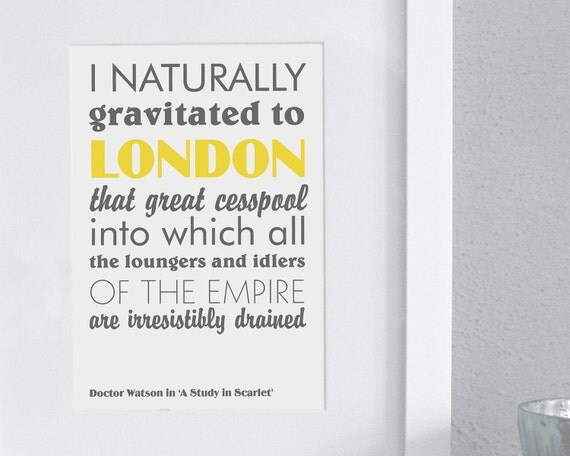 SALE Pair of Sherlock Holmes prints - London quotes