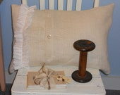 Beach Fancy pillow with burlap and ruffle...designed and sewn by Mickey Zimmer