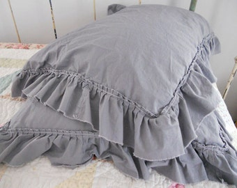 Pillow Shams with unhemmed cottage ruffle in slate designed and sewn by Mickey Zimmer