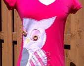 Pink-coral Owl T-shirt, small