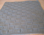 Knit Baby Blanket in Baby Blue Color Crocheted Border for Baby Boy
