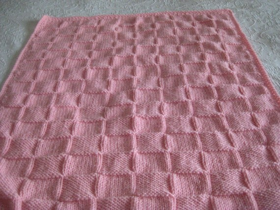 Knit Baby Blanket in Pastel Pink Color with Crocheted Border for Baby Girl