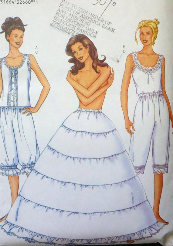 Sewing Pattern Women's Camisole, Pantaloons & Hoop Petticoat - Butterick 6884 Size 6-8-10