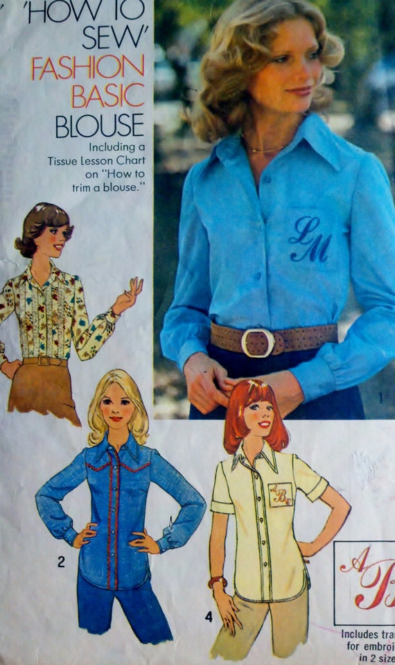 "Sewing Pattern Vintage 70s Womens Button Down Western Style Shirt  - Size 14 Bust 36"" Simplicity 7078"