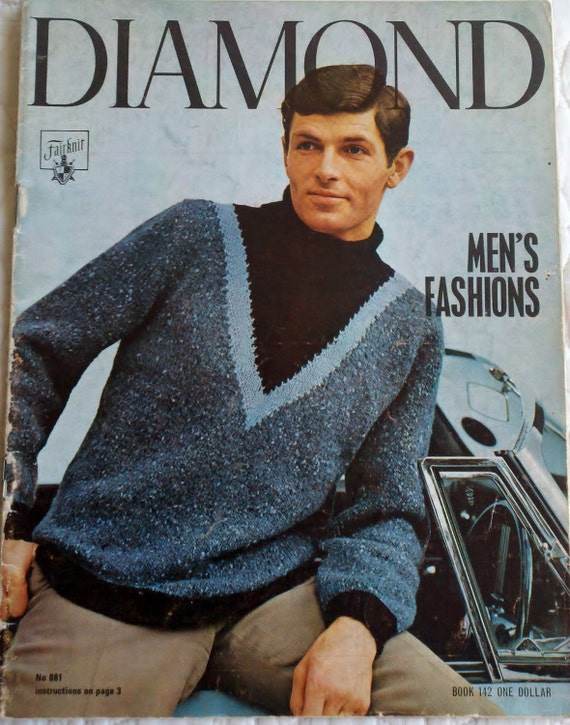 Vintage Knit & Crochet Magazine - Diamond Magazine Men's Sweaters 1960s