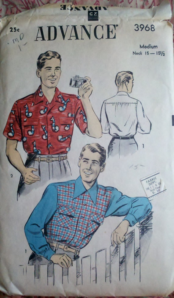 Advance 3968 Vintage 1940s Sewing Pattern Men's Button Down Oxford Shirts Short or Long Sleeve Size Medium Chest 38-40""