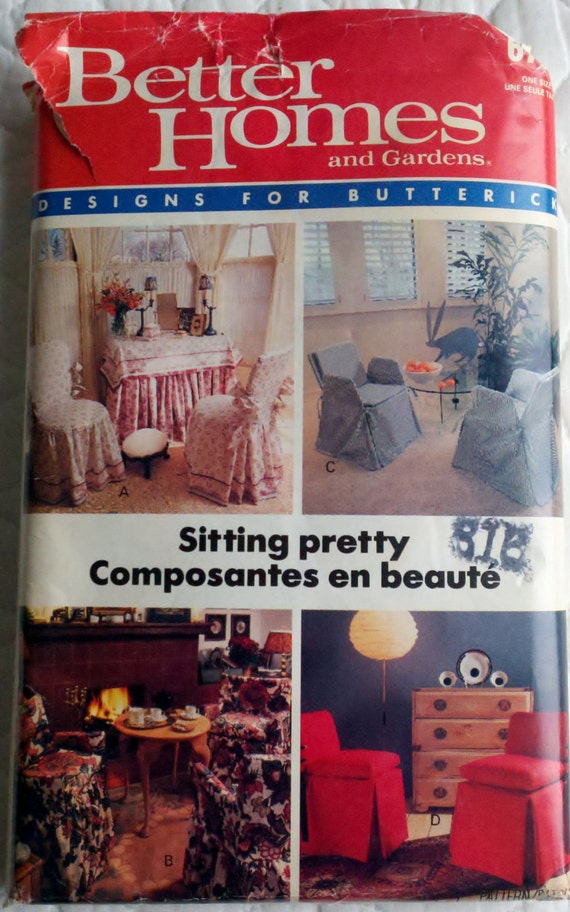 1980's Better Homes & Gardens Chair Covers Vintage Sewing Pattern Butterick 6763  - UNCUT One Size