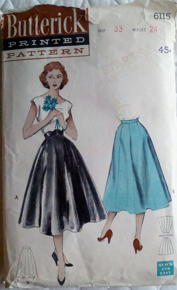 1950's Vintage Women's Sewing Pattern Rockabilly Full Swing Skirt  Butterick 6115 Size 12 Waist 24""