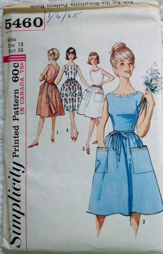 Vintage Womens Sewing Pattern Back-Wrap Apron Style Dress Simplicity 5460 Size 18 Bust 38""