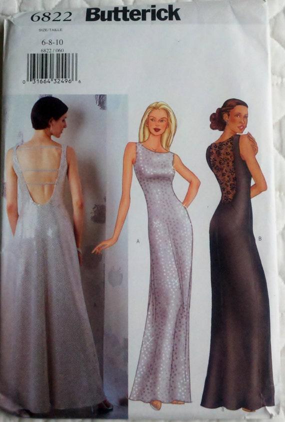 "Sewing Pattern Womens Floor Length Formal Dress Size 6-8-10 Bust 30.5-32.5"" Butterick 6822"
