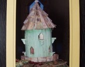 Green Bird House Photograph Greeting Writing Card on Gold Cardstock