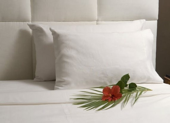 Linen Queen Pillow Cases- Pearl White- 1 pair- Slightly imperfect