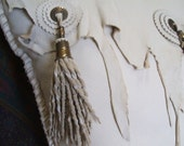 White ivory deer leather pillow Cowgirl Ranch Western log cabin decor tassels and thimbles one of a kind chic not shabby gorgeous texture