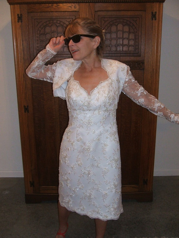 Oleg Cassini short wedding dress embroidered lace beads and sequins up-styled matching handmade bolero and bag